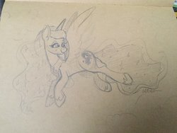 Size: 2048x1536 | Tagged: safe, artist:cadetredshirt, princess luna, alicorn, pony, crown, ear fluff, ethereal mane, eyes open, female, flying, horn, jewelry, lidded eyes, long mane, looking back, mare, on side, pencil drawing, peytral, regalia, relaxed, signature, sketch, smiling, solo, sparkles, tan paper, traditional art, wings