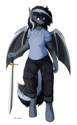 Size: 2044x3300 | Tagged: safe, artist:the-minuscule-task, oc, oc only, oc:shade (jerichoiv), bat pony, anthro, unguligrade anthro, anthro oc, bat pony oc, clothes, female, mare, pants, shirt, simple background, solo, sword, t-shirt, weapon