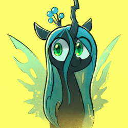 Size: 1753x1753 | Tagged: artist:dawnfire, changeling, changeling queen, crown, cute, cutealis, eye clipping through hair, female, horn, jewelry, queen chrysalis, regalia, safe, simple background, smiling, solo, wings, yellow background