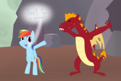 Size: 2400x1600 | Tagged: artist:mightyshockwave, dab, dragon lands, garble, moral event horizon, rainbow dash, safe, spoiler:s09e09, sweet and smoky, teaching