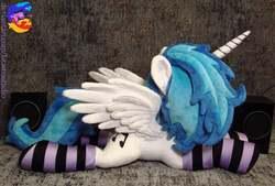 Size: 2960x2005 | Tagged: safe, artist:1stastrastudio, dj pon-3, vinyl scratch, alicorn, pony, clothes, female, horn, irl, mare, photo, plushie, prone, race swap, socks, spread wings, striped socks, wings