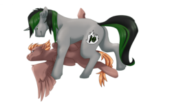 Size: 1117x671 | Tagged: artist:nestingheights, bedroom eyes, couple, cuddling, cute, female, male, mare, oc, oc only, oc:pinwheel, oc:spectrum heat, safe, ship, stallion