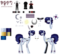 Size: 7086x6519 | Tagged: artist:moonlight0shadow0, bandana, blaze (coat marking), bust, choker, clothes, commission, ear piercing, earring, fallen grace, female, horn, horn ring, icey-verse, jeans, jewelry, mare, moonlight raven, multicolored hair, nose piercing, oc, oc:da capo, oc:major elegy, oc:partita keys, oc:punk note, overalls, pajamas, pants, piercing, pony, redesign, reference sheet, ring, safe, shirt, shorts, simple background, snake bites, socks, solo, spiked choker, striped socks, tanktop, tattoo, tongue out, tongue piercing, torn clothes, transparent background, t-shirt, unicorn, wedding ring, wristband