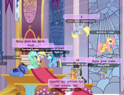 Size: 320x245 | Tagged: bench, canterlot, cello, chat, chatroom, clone, derp, derpy hooves, ditzy doo, dizzy, fluttershy, flying, lyra heartstrings, mmo, octavia melody, picture for breezies, playing the cello, ponyplace, princess luna, rainbow dash, s1 luna, safe, self ponidox, sitting, sleeping, spike, upside down, young celestia
