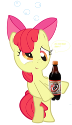 Size: 3051x5243 | Tagged: apple bloom, asdfmovie reference in the description, cute, derp, drunk, drunk bubbles, drunk filly, edit, female, filly, inverted mouth, it's root beer time, root beer, safe, solo, speech bubble, text