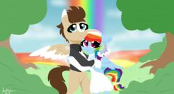 Size: 1980x1080 | Tagged: artist:nootaz, bipedal, bipedal leaning, canon x oc, clothes, dress, female, leaning, male, marriage, oc, oc:skittle, rainbow dash, safe, shipping, skidash, straight, wedding, wedding dress