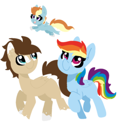Size: 940x980 | Tagged: artist:nootaz, blank flank, canon x oc, coat markings, female, filly, male, missing cutie mark, oc, oc:skittle, offspring, parent:oc:skittle, parent:rainbow dash, parents:canon x oc, parents:skidash, pegasus, rainbow dash, safe, shipping, simple background, skidash, stallion, straight, transparent background