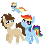 Size: 940x980 | Tagged: safe, artist:nootaz, rainbow dash, oc, oc:skittle, pegasus, pony, blank flank, canon x oc, coat markings, female, filly, male, missing cutie mark, offspring, parent:oc:skittle, parent:rainbow dash, parents:canon x oc, parents:skidash, shipping, simple background, skidash, stallion, straight, transparent background