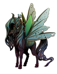 Size: 400x515 | Tagged: antennae, artist:reptilianbirds, bug pony, changeling, crown, female, hoers, jewelry, looking at you, mandibles, queen chrysalis, regalia, safe, simple background, solo, spread wings, transparent background, wings