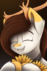 Size: 2160x3250 | Tagged: artist:syntaxartz, bust, closed eye, deer pony, flower, oc, original species, pegasus, portrait, safe, smiling, solo, sunflower