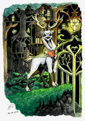 Size: 1323x1877 | Tagged: artist:reptilianbirds, bracer, city, deer, gate, idw, king aspen, lantern, male, peytral, safe, solo, spoiler:comic, stag, thicket