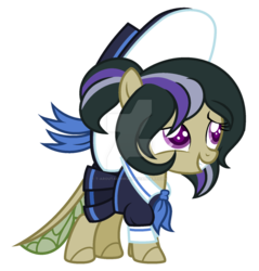 Size: 900x941 | Tagged: safe, artist:t-aroutachiikun, oc, oc:spheranium, changepony, hybrid, clothes, female, filly, hat, interspecies offspring, offspring, parent:thorax, parent:twilight sparkle, parents:twirax, simple background, solo, transparent background