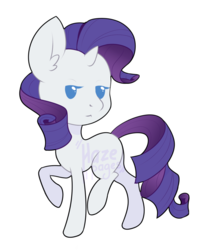 Size: 1000x1200 | Tagged: :<, artist:hazepages, chibi, female, lidded eyes, looking at you, mare, pony, raised hoof, raised leg, rarity, safe, simple background, solo, transparent background, unicorn, watermark