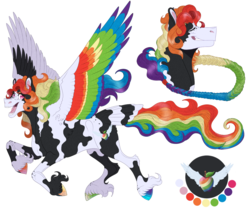 Size: 1350x1145 | Tagged: artist:bijutsuyoukai, colored wings, female, magical lesbian spawn, mare, multicolored wings, oc, oc:zap apple blitz, offspring, parent:applejack, parent:rainbow dash, parents:appledash, pegasus, pony, rainbow wings, safe, simple background, solo, transparent background, wings