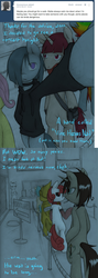 Size: 1280x3612 | Tagged: safe, artist:lonelycross, fluttershy, marble pie, oc, oc:coffee bean, oc:pinkenta, pony, ask lonely inky, ask, choker, comic, concert, dialogue, line, lonely inky, nine inch nails, question, queue, sadistic sweetie belle, talking, tumblr