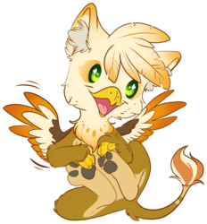 Size: 3390x3646 | Tagged: safe, artist:cutepencilcase, oc, oc only, oc:ember burd, griffon, chibi, colored wings, commission, cute, eared griffon, gradient wings, griffon oc, heart eyes, holding paws, legs in air, male, multicolored wings, on back, open mouth, paw pads, paws, simple background, solo, spread wings, talons, transparent background, underpaw, wingding eyes, wings