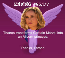 Size: 851x765 | Tagged: alicorn, alternate avengers endgame endings, avengers: endgame, brie larson, carol danvers, cropped, edit, edited screencap, marvel, meme, my little pony: the movie, politics in the comments, pun, safe, screencap, solo, thanks m.a. larson, twilight sparkle, twilight sparkle (alicorn)
