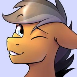Size: 1800x1800 | Tagged: safe, artist:argigen, quibble pants, earth pony, pony, bust, cute, floppy ears, looking at you, male, one eye closed, portrait, quibblebetes, rcf community, simple background, smiling, solo, stallion, wink