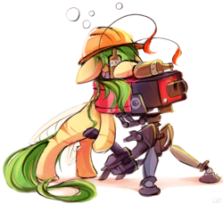 Size: 2390x2185 | Tagged: alcohol, artist:kaleido-art, drunk, drunk bubbles, earth pony, gift art, hard hat, oc, oc only, safe, sentry gun, simple background, solo, team fortress 2, white background