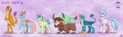 Size: 4900x1500 | Tagged: safe, artist:inuhoshi-to-darkpen, gallus, ocellus, sandbar, silverstream, smolder, yona, changedling, changeling, changeling queen, classical hippogriff, dragon, earth pony, griffon, hippogriff, pony, yak, bow, cloven hooves, dragoness, feathered fetlocks, female, hair bow, horn, horn ring, male, older, older gallus, older ocellus, older sandbar, older silverstream, older smolder, older student six, older yona, purple background, queen ocellus, realistic horse legs, simple background, smiling, stallion, student six