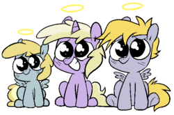 Size: 581x383 | Tagged: safe, artist:pinkiespresent, chirpy hooves, crackle pop, dinky hooves, pegasus, pony, unicorn, brother and sister, female, filly, halo, innocent, male, puppy dog eyes, siblings, sitting, smiling, trio