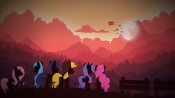Size: 1920x1080 | Tagged: safe, artist:simonk0, applejack, fluttershy, pinkie pie, rainbow dash, rarity, twilight sparkle, alicorn, earth pony, pegasus, pony, unicorn, airship, canterlot, mane six, silhouette, song cover, twilight sparkle (alicorn)