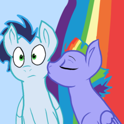 Size: 768x768   Tagged: safe, bow hothoof, soarin', pegasus, pony, bowsoarin, gay, infidelity, kiss on the cheek, kissing, male, shipping, stallion
