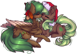 Size: 1441x1018 | Tagged: artist:d-dyee, blushing, christmas, earth pony, hat, holiday, oc, pegasus, safe, santa hat