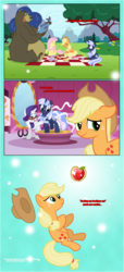 Size: 1919x4225 | Tagged: safe, artist:estories, applejack, fluttershy, harry, rarity, oc, oc:silverlay, bear, earth pony, fish, pony, unicorn, comic:a(pple)ffection, clothes, comic, dress, female, mare, picnic, picnic blanket
