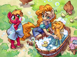 Size: 2800x2067 | Tagged: safe, artist:holivi, applejack, big macintosh, pear butter, bird, chicken, earth pony, anthro, unguligrade anthro, armpits, bath, bathing, bathtub, brother and sister, brush, bubble, chicks, clothes, colt, cute, female, filly, floppy ears, foal, freckles, grass, happy, jackabetes, macabetes, male, mare, mother and child, mother and daughter, mother and son, motherly, motherly love, nipples, nudity, open mouth, pointing, siblings, soap bubble, suds, sweet dreams fuel, toddler, towel, trio, unshorn fetlocks, water, weapons-grade cute, wholesome, younger