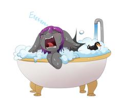 Size: 2112x1675 | Tagged: safe, artist:confetticakez, oc, oc only, oc:andromeda aurora, bat pony, pony, adorable distress, bat pony oc, bath, bathtub, blushing, bubble bath, claw foot bathtub, crying, cute, ear fluff, ear tufts, eeee, eyes closed, fangs, female, floppy ears, forced bathing, frown, mare, open mouth, rubber duck, sad, sadorable, screaming, simple background, solo, suds, tongue out, water, wet, wet mane, white background