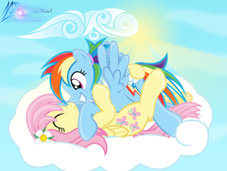 Size: 8000x6000 | Tagged: safe, artist:nightmaremoons, fluttershy, rainbow dash, pony, alternate hairstyle, boop, cloud, cloudy, female, flower, flower in hair, flutterdash, lesbian, noseboop, palindrome get, shipping, show accurate, show accurate porn