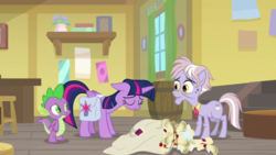 Size: 1920x1080 | Tagged: safe, screencap, dusty pages, spike, twilight sparkle, alicorn, dragon, the point of no return, bag, barrel, floppy ears, mail, saddle bag, scroll, twilight sparkle (alicorn), winged spike
