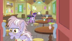 Size: 1920x1080 | Tagged: safe, screencap, dusty pages, spike, twilight sparkle, alicorn, dragon, the point of no return, barrel, double bass, drums, letter, microphone, musical instrument, saddle bag, table, twilight sparkle (alicorn), winged spike