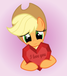 Size: 4000x4500 | Tagged: applejack, artist:galekz, cute, heart, heartwarming, holiday, i love you, jackabetes, love, safe, solo, valentine, valentine's day