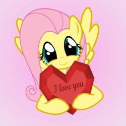Size: 4000x4000 | Tagged: artist:galekz, cute, fluttershy, heart, heartwarming, holiday, i love you, love, safe, shyabetes, solo, valentine, valentine's day