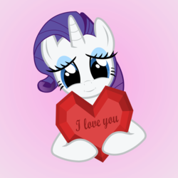 Size: 4000x4000 | Tagged: artist:galekz, cute, heart, heartwarming, holiday, i love you, love, rarity, safe, solo, valentine, valentine's day