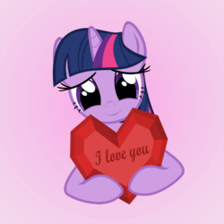 Size: 4000x4000 | Tagged: artist:galekz, cute, heart, heartwarming, holiday, i love you, love, safe, solo, twilight sparkle, valentine, valentine's day
