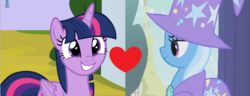 Size: 1444x554 | Tagged: alicorn, artist:shipper anon, boast busters, edit, female, lesbian, safe, shipping, sparkle's seven, spoiler:s09e04, trixie, twilight sparkle, twilight sparkle (alicorn), twixie