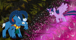 Size: 1500x800 | Tagged: angry, background, bell, flying, grogar, safe, twilight sparkle, vector