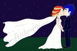 Size: 1000x666 | Tagged: safe, artist:fude-chan-art, flash sentry, sunset shimmer, equestria girls, bride, clothes, dress, female, flashimmer, groom, kissing, male, marriage, shipping, straight, wedding, wedding dress, wedding night, wedding veil