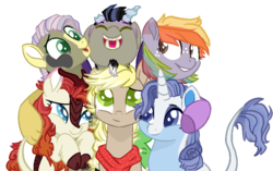 Size: 928x582 | Tagged: artist:little-macrophage, base used, classical unicorn, clothes, cloven hooves, draconequus, draconequus oc, female, freckles, group hug, hug, hybrid, interspecies offspring, kirin, kirin hybrid, kirin oc, leonine tail, magical lesbian spawn, male, mare, oc, oc:apple sorbet, oc:clarity, oc only, oc:onyx, oc:river swirl, oc:serenity rain, oc:soap fiji, offspring, parent:applejack, parent:autumn blaze, parent:big macintosh, parent:derpy hooves, parent:discord, parent:fluttershy, parent:pinkie pie, parent:rainbow dash, parent:rarity, parents:autumnpie, parents:derpyjack, parents:discolight, parents:rainbowmac, parents:rarixie, parents:thundershy, parent:thunderlane, parent:trixie, parent:twilight sparkle, rainbow hair, safe, scarf, simple background, smiling, stallion, transparent background, unicorn, unshorn fetlocks
