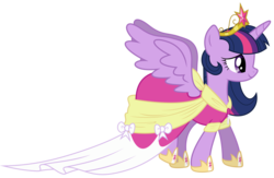 Size: 1106x722 | Tagged: alicorn, artist:proenix, big crown thingy, clothes, coronation dress, crown, dress, female, hoof shoes, jewelry, magical mystery cure, mare, pony, regalia, safe, simple background, solo, transparent background, twilight sparkle, twilight sparkle (alicorn), vector, wings