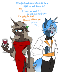 Size: 656x761 | Tagged: annoyed, anthro, anthro oc, artist:redxbacon, clothes, dress, female, glass, mare, oc, oc only, oc:parch well, oc:pillow talk, safe, unicorn, wine glass