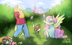 Size: 1280x812 | Tagged: safe, artist:rwl, apple bloom, applejack, big macintosh, fluttershy, winona, anthro, earth pony, pegasus, appleshy, basket, engagement ring, female, lesbian, marriage proposal, picnic basket, shipping, shocked, surprised, sweet apple acres