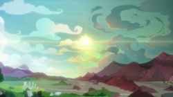 Size: 2100x1180 | Tagged: cloud, dragon lands, equestria, fluttershy, pony, safe, scenery, screencap, smolder, spike, spoiler:s09e09, sun, sweet and smoky