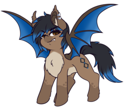 Size: 4706x4144 | Tagged: artist:wickedsilly, bat pony, chest fluff, oc, oc:blink, oc only, piercing, redesign, safe, simple background, solo, transparent background