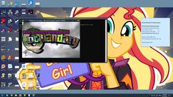 Size: 1920x1080 | Tagged: safe, screencap, sunset shimmer, equestria girls, best human, desktop, game, greetings, ms-dos, windows, windows 10