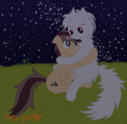 Size: 4000x3900 | Tagged: safe, artist:onil innarin, oc, oc only, oc:asla praki, original species, pony, albino, duo, female, fluffy, grass, grass field, hug, looking at each other, male, mare, night, red eyes, scenery, signature, snuggling, stallion, stars, white mane