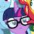 Size: 640x640 | Tagged: safe, edit, edited screencap, screencap, rainbow dash, sci-twi, sunset shimmer, twilight sparkle, pegasus, pony, unicorn, equestria girls, equestria girls series, spring breakdown, spoiler:eqg series (season 2), :>, cute, equestria girls ponified, female, glasses, inverted mouth, mare, ponified, smiling, twiabetes, unicorn sci-twi